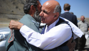 Ashraf Ghani is greeted during a visit to Panjshir Province