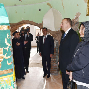 Azerbaijani President Ilham Aliyev (second from right) and his wife visit the Goy Imam Mosque in late October 2014. Hundreds of Azerbaijanis are known to have joined Islamic State (IS) forces in Syria with the concern starting to build that these battle-hardened jihadists could one day set their sights on challenging Aliyev's administration. (Photo: Azerbaijani Presidential Press Service)