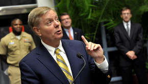 Senator Lindsey Graham addresses SPAWAR employees at SPAWAR Headquarters during a visit to Joint Base Charleston for briefings on space and naval warfare systems in Charleston, S.C., June 18, 2012. (DoD Photo By Glenn Fawcett) (Released)
